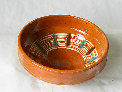 ANTIQUE 19`c Ottoman Empire HandMade REDWARE Glased Pottery Ceramic Dish Bowl 13