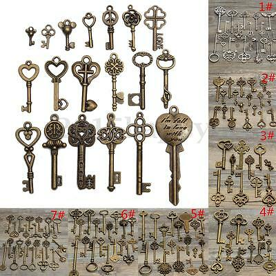 UK Assorted Antique Vintage Old Key Pendant Bronze DIY Skeleton Heart Bow Lock