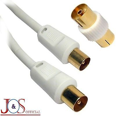 2M Metre HQ RF TV Aerial Coaxial Lead Gold Male Plug To Plug Television Wire