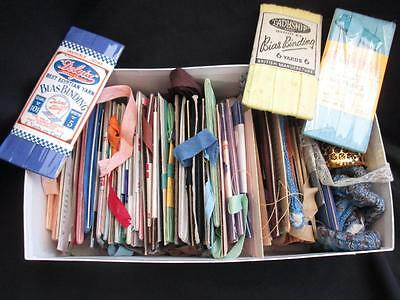 Shoe Box Full of Vintage Cotton Bias Binding Full and Part Cards 50+ Cards