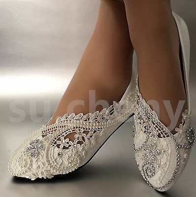 su.cheny White ivory pearls lace rhinestones flowers flat Wedding Bridal shoes