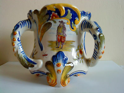 Antique Fourmaintraux-Courquin Hand Painted Desvres faience three Handled Vase