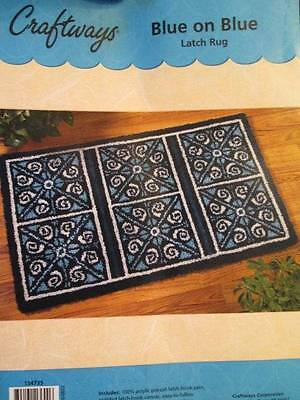 Craftways Blue On Blue Latch Hook Rug Kit-50x30 Inches