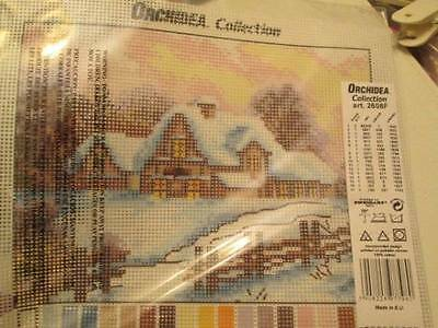 Orchidea Collection Winter Landscape Needlepoint Canvas 7x9.5 Inches (18x24 cm)