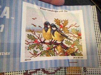 Winter Landscape With Tits (Birds) Orchidea Needlepoint Canvas-24x30cm (9.5x12 i