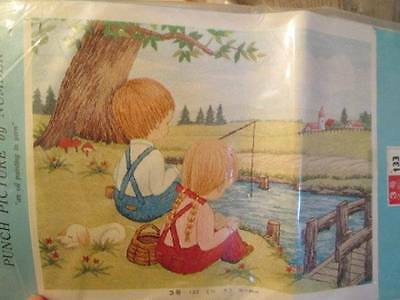 Boy & Girl Fishing Japanese Bunka Needle Punch Embroidery By Number Kit-11.8