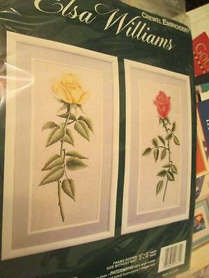 Elsa Williams Regal Rose Pair Crewel Embroidery Kit 12x22 Inches Each