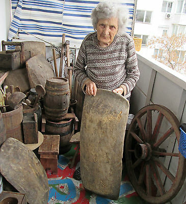 "۞ 35x13"" 19thC Antique primitive wooden hand hewn Butter Trencher Dough bowl OLD"