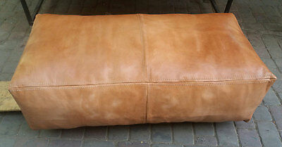 Moroccan Genuine Leather Pouf Double Seater, Natural Tan Pouf,ottoman,footstool