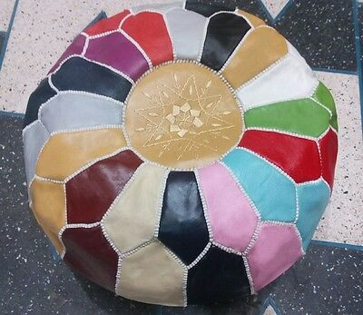 Moroccan Genuine Leather Pouf,multi-Color Pouffe,ottoman,footstool,hassock