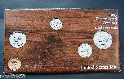 1985-P+D One New Ten Coin Uncirculated Mint Set From Original Mint Shipping Box