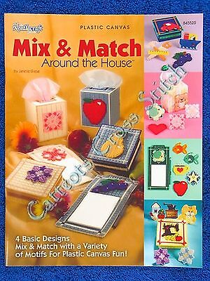 Plastic Canvas Pattern Mix & Match Around House Motifs Tissue Box Note Pad