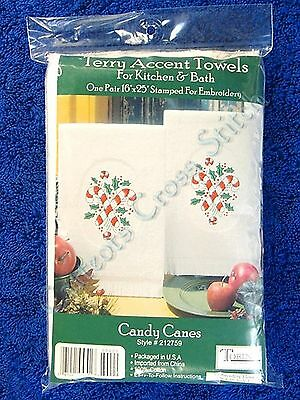 "Stamped Hand Towels for Embroidery Candy Cane Christmas Pair Terry 16"" x 25"" OOP"