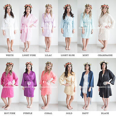 PLAIN sizes 8-20 Satin Dressing Gown Robe Bridal Wedding Sleepwear Silk