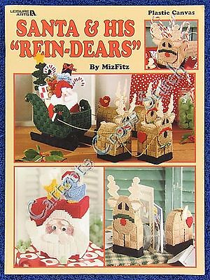 Christmas Plastic Canvas Pattern Santa & His 'Rein-Dears' Coaster Tissue Cover