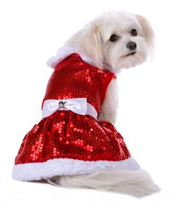 Mrs Claus Dog Pet Costume Red Sequin Dress Large (New with Tags)