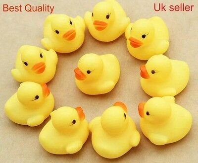 10 Small Kids Bath Rubber Duck Toys yellow Bath time Fun Time Floating Water NEW
