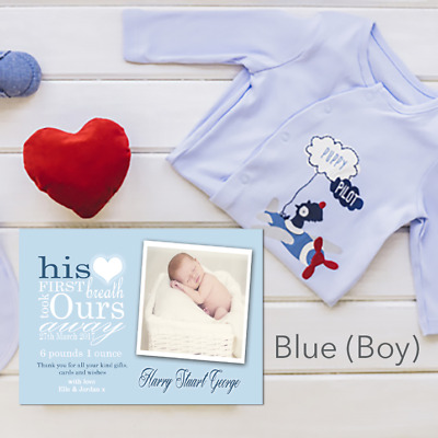 Personalised New Baby Thank You Cards | Birth Announcement Photo & Envelopes