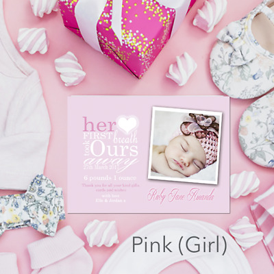 Personalised New Baby Thank You Cards Girl Or Boy Birth Announcement & Envelopes