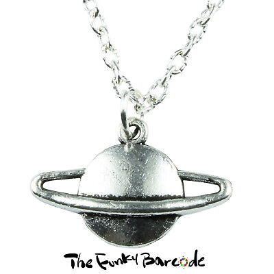TFB - SATURN PLANET NECKLACE Space Retro Cool UFO Galaxy Orbit Stars Novelty Fun