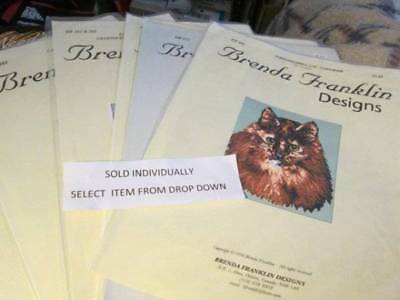 Brenda Franklin Designs Cross Stitch CHART Your Choice-Cat/Roosters/Turtle/Wolf
