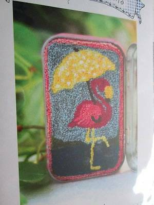 Pretty In Pink Flamingo With Umbrella Punch Needle Fabric/Pattern