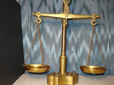 Antique Brass Maco Braga Balance Scale 1800's Dolphin Hooks Complete W/weights