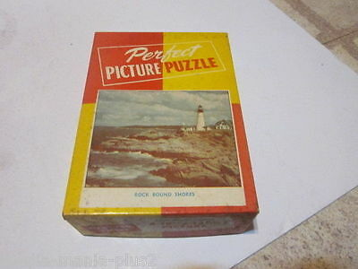 Vintage 1940's Perfect Picture Jigsaw Puzzle Rock Bound Shores Lighthouse #1611-