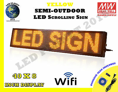 "Yellow 40""x8"" Semi Outdoor LED Scrolling Programmable Sign USB Wifi Mobile App"