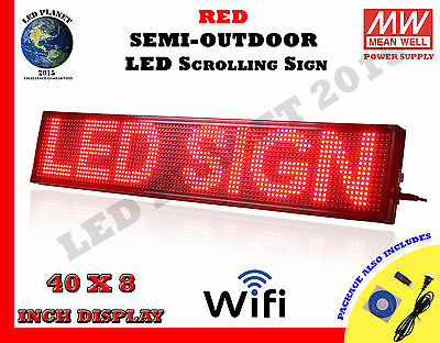 Red - 40X8 Inch Semi Outdoor LED Scrolling Programmable Sign USB Wifi Mobile App