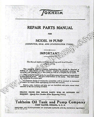 Tokheim 39 Gas Pump Parts Manual BK-TOK39MAN
