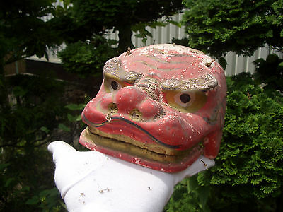 Japanese antique clay shishimai head for use festival many broken old Japan#8181