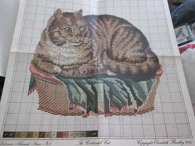 Elizabeth Bradley Contented Cat Cross Stitch/Needlepoint Chart-Victorian Animal