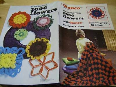 Ronco Flower Looms & Crochet Craft Booklet -1000 Flowers- Many Projects, Mon Tri