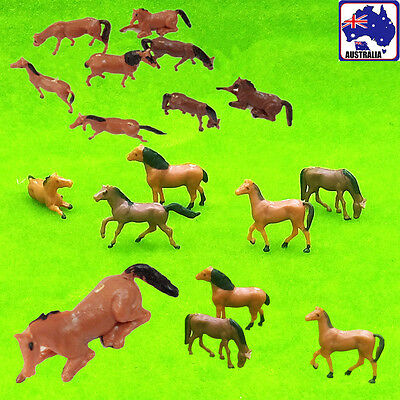 10pcs Scale 1:87 Painted Horse Horses Model Train Figurine Layout GMOD 02184x10
