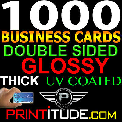 Personalized BUSINESS CARDS 1000 FULL COLOR 14pt THICK DOUBLE SIDED UV GLOSSY