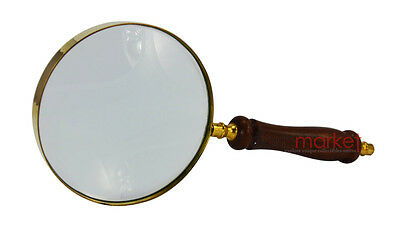 hand magnifying glass with 5 X magnification with rose wood handle and brass rim