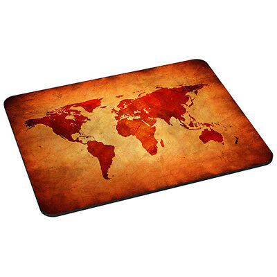 Mauspad Gaming Mousepad rutschfest mit Design, Brown Global Map Weltkarte Braun