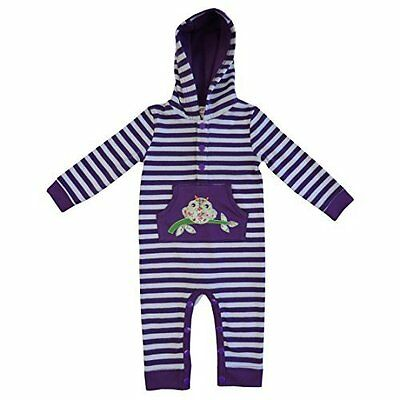 powell craft purple strippy owl hooded jumpsuit 0-6 months