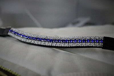 Equipride Diamante Bling Sparkly Browband 5 Row Crystal Dressage Blue