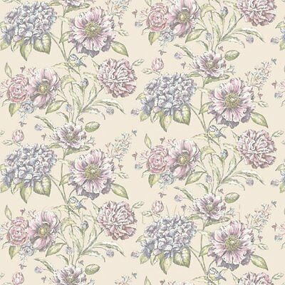 Dolls House Miniature Pink And Violet Mixed Flowers On Cream Wallpaper