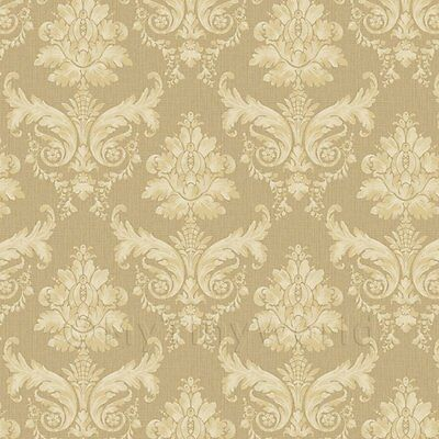 Dolls House Miniature Cream on Khaki Leaf Damask Wallpaper