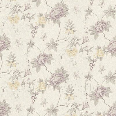 Dolls House Miniature Pale Purple Trailing Flower Design Wallpaper