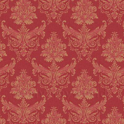 Dolls House Miniature Light Red on Red Leaf Damask Wallpaper
