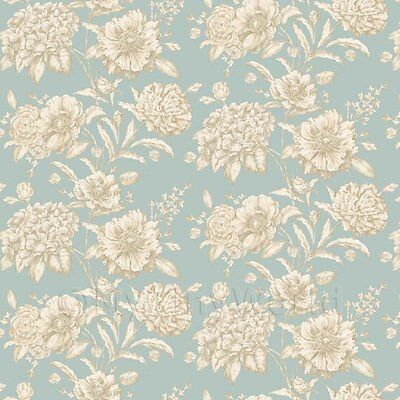 Dolls House Miniature White Mixed Flowers on Duck Egg Blue Wallpaper