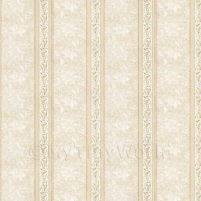 Dolls House Miniature Ornate Light Brown Striped Wallpaper