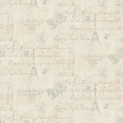 Dolls House Miniature Pale Blue And Beige Vintage French Themed Wallpaper