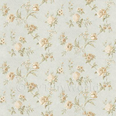 Dolls House Miniature Mixed White Flowers On Pale Blue Wallpaper