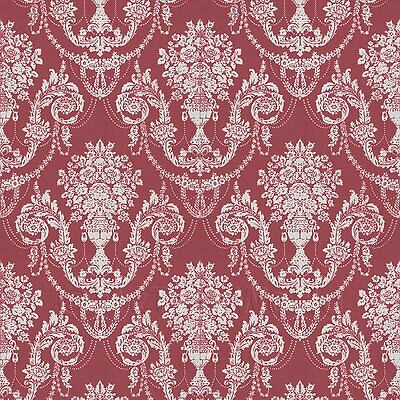 Dolls House Miniature Burgandy Chandelier Damask Wallpaper