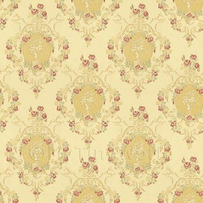Dolls House Red Damask Flower On Pale Yellow Wallpaper